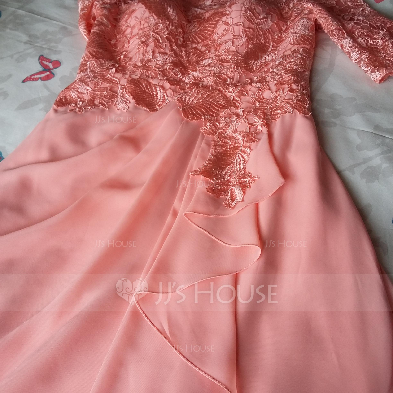 A-Line/Princess Scoop Neck Floor-Length Chiffon Lace Evening Dress ...