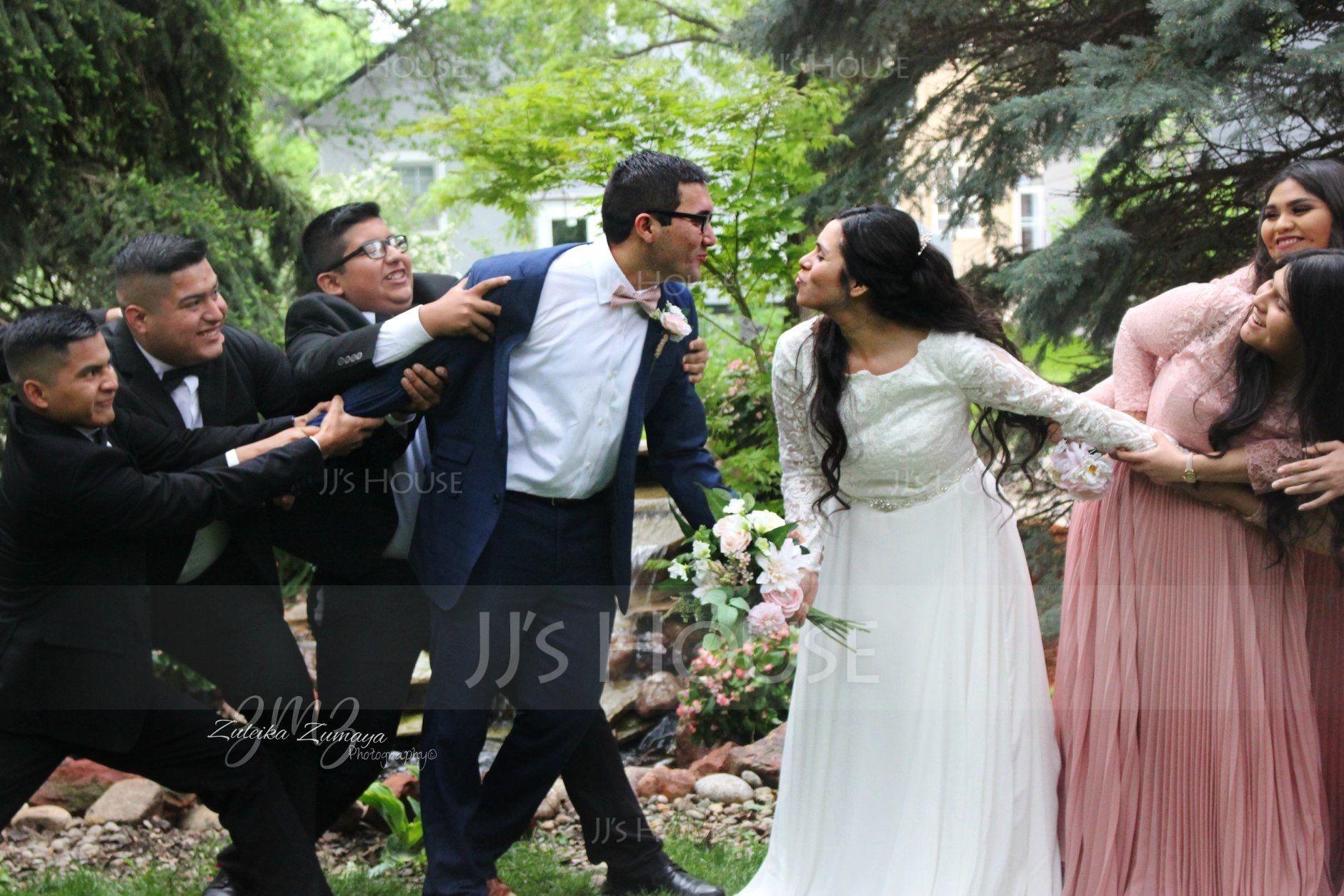 99 Dollar Wedding Gowns: A-Line/Princess Scoop Neck Court Train Chiffon Wedding