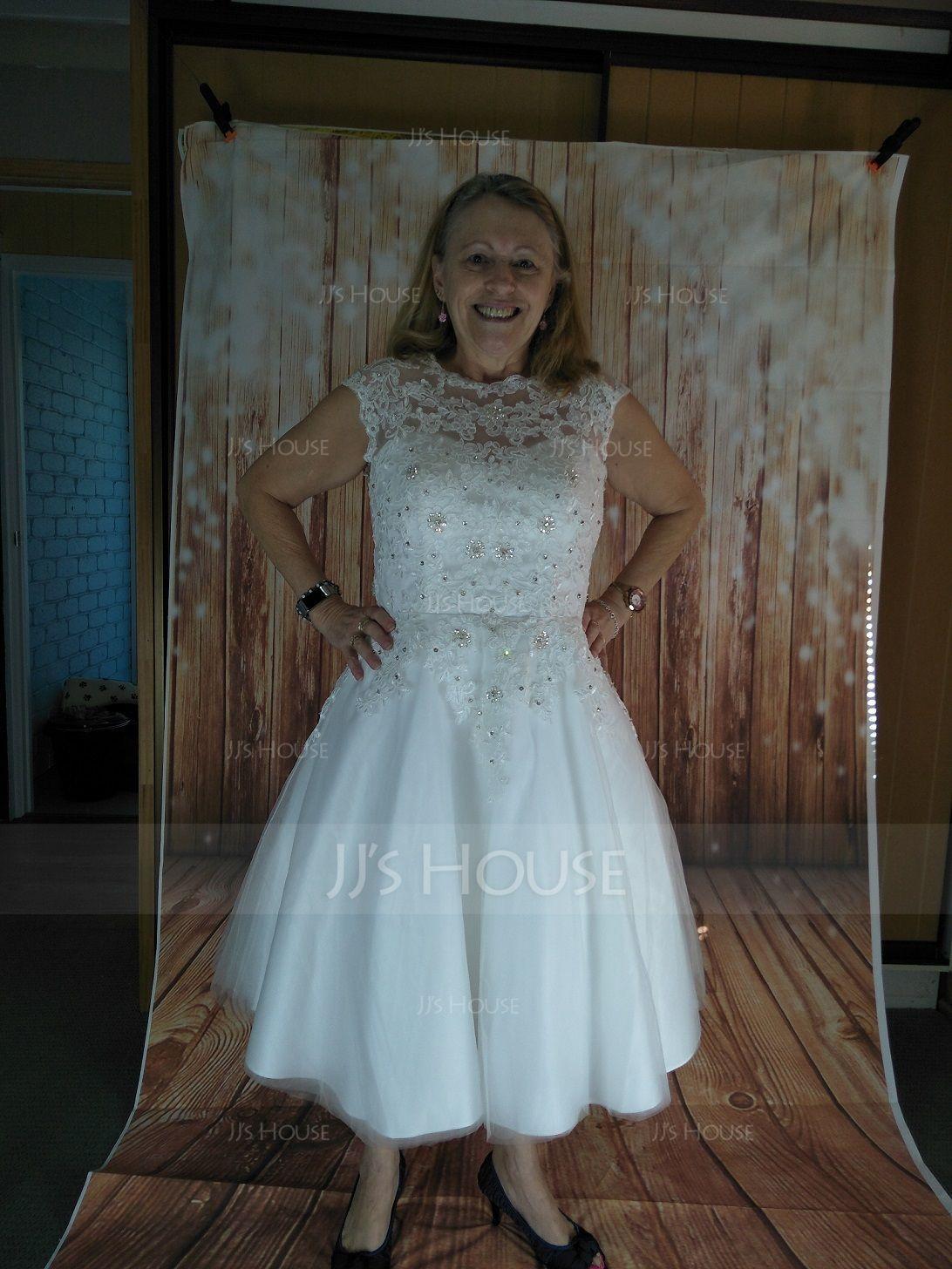 Women Tulle Netting/Satin Tea-length 2 Tiers Bustle (037117078)