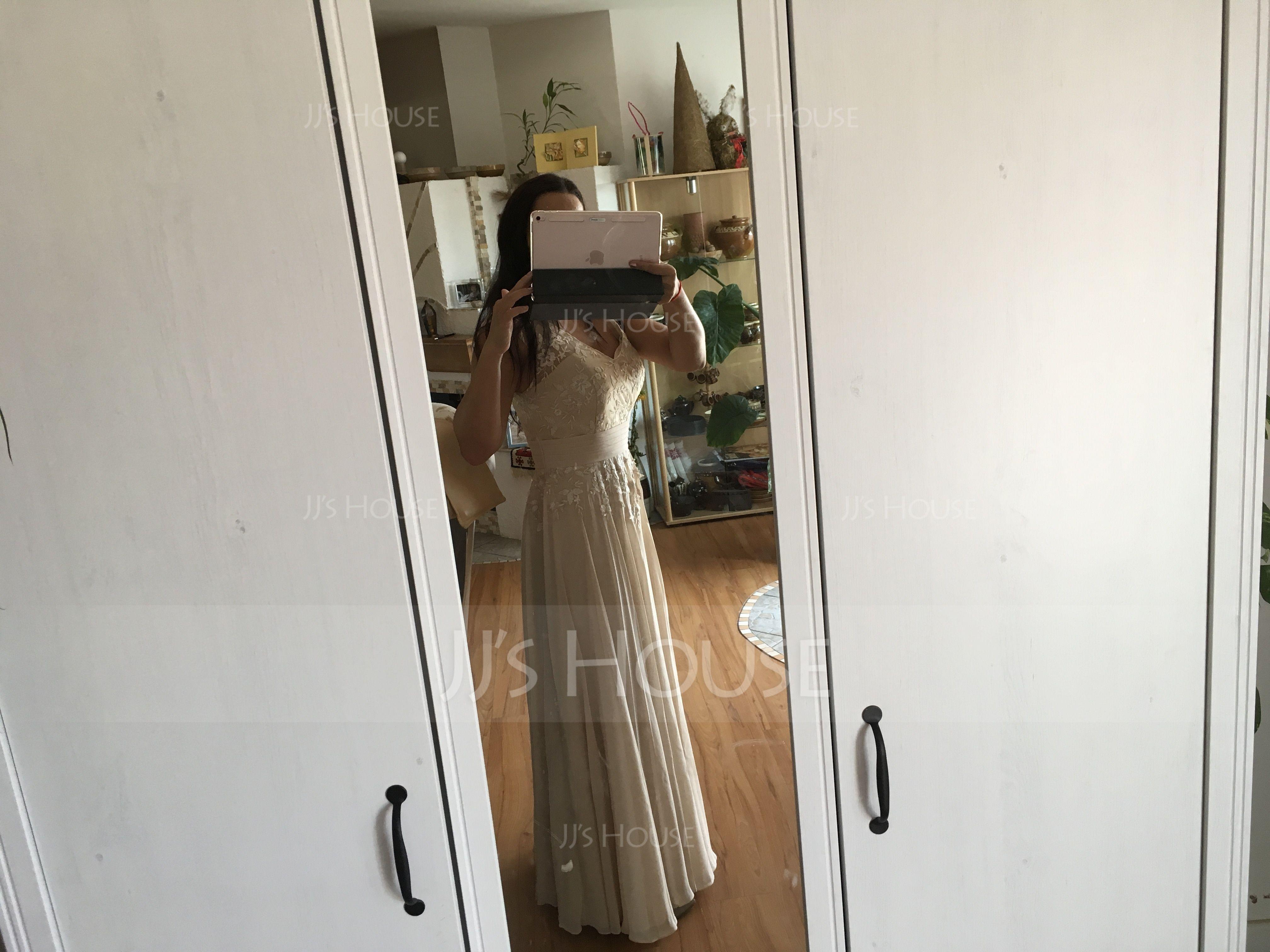 Трапеция/Принцесса V-образный Длина до пола шифон Кружева Платье Для Матери Невесты (008062566)