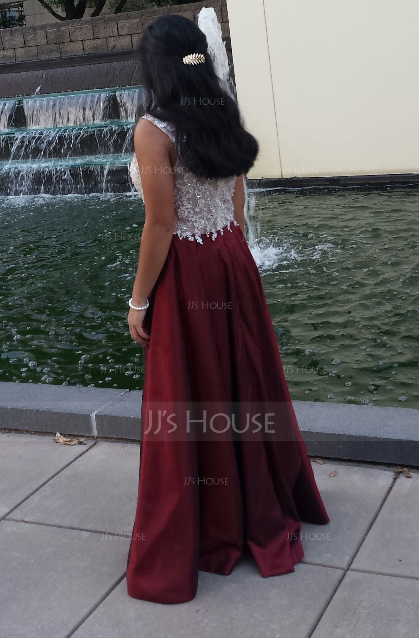 Ball-Gown Scoop Neck Floor-Length Taffeta Tulle Prom Dresses With Beading Appliques Lace Sequins (018075858)
