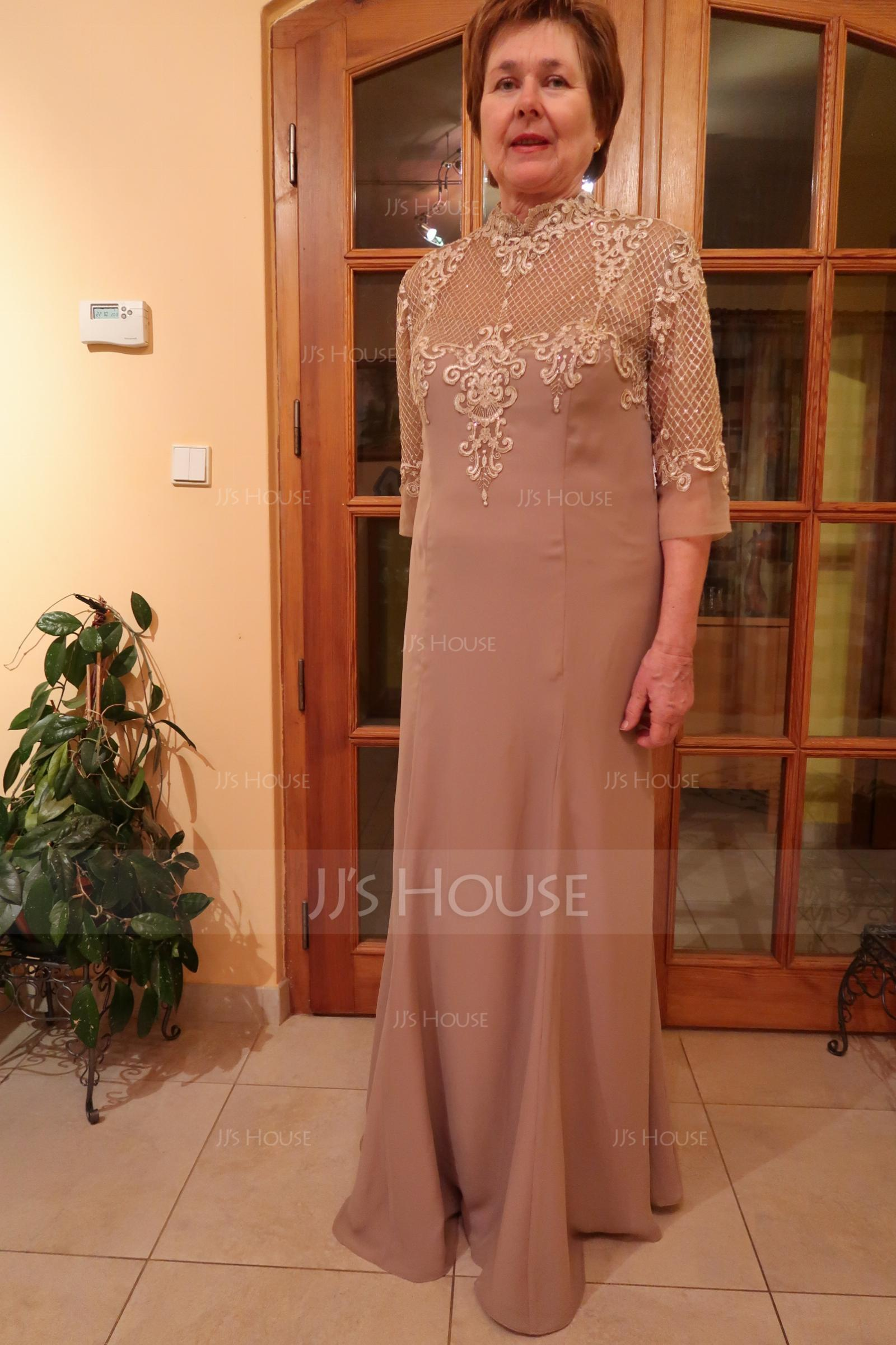 Trumpet/Mermaid High Neck Floor-Length Chiffon Lace Evening Dress With Sequins (017144980)