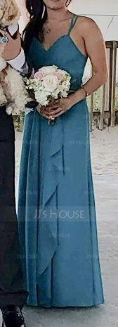 A-Line/Princess Sweetheart Floor-Length Chiffon Bridesmaid Dress With Cascading Ruffles (266177082)