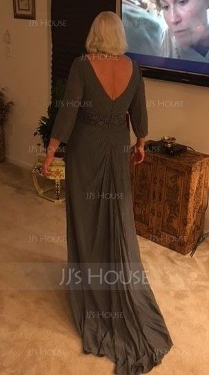 A-Line/Princess V-neck Sweep Train Chiffon Mother of the Bride Dress With Beading Sequins Cascading Ruffles (008131965)