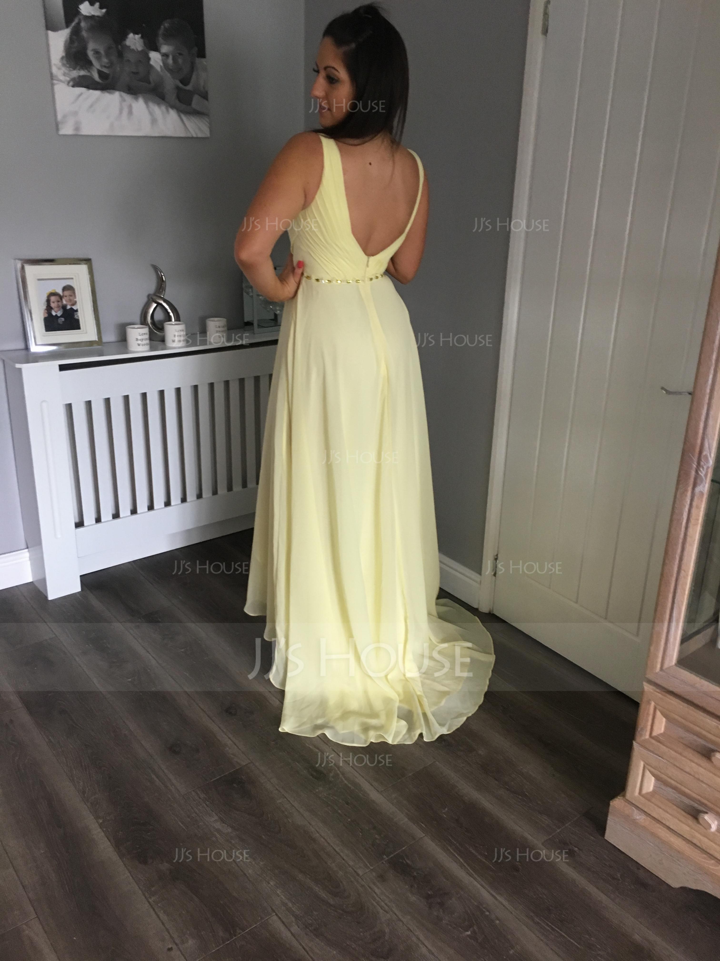 V-neck Asymmetrical Chiffon Bridesmaid Dress With Ruffle Beading Sequins (266195868)