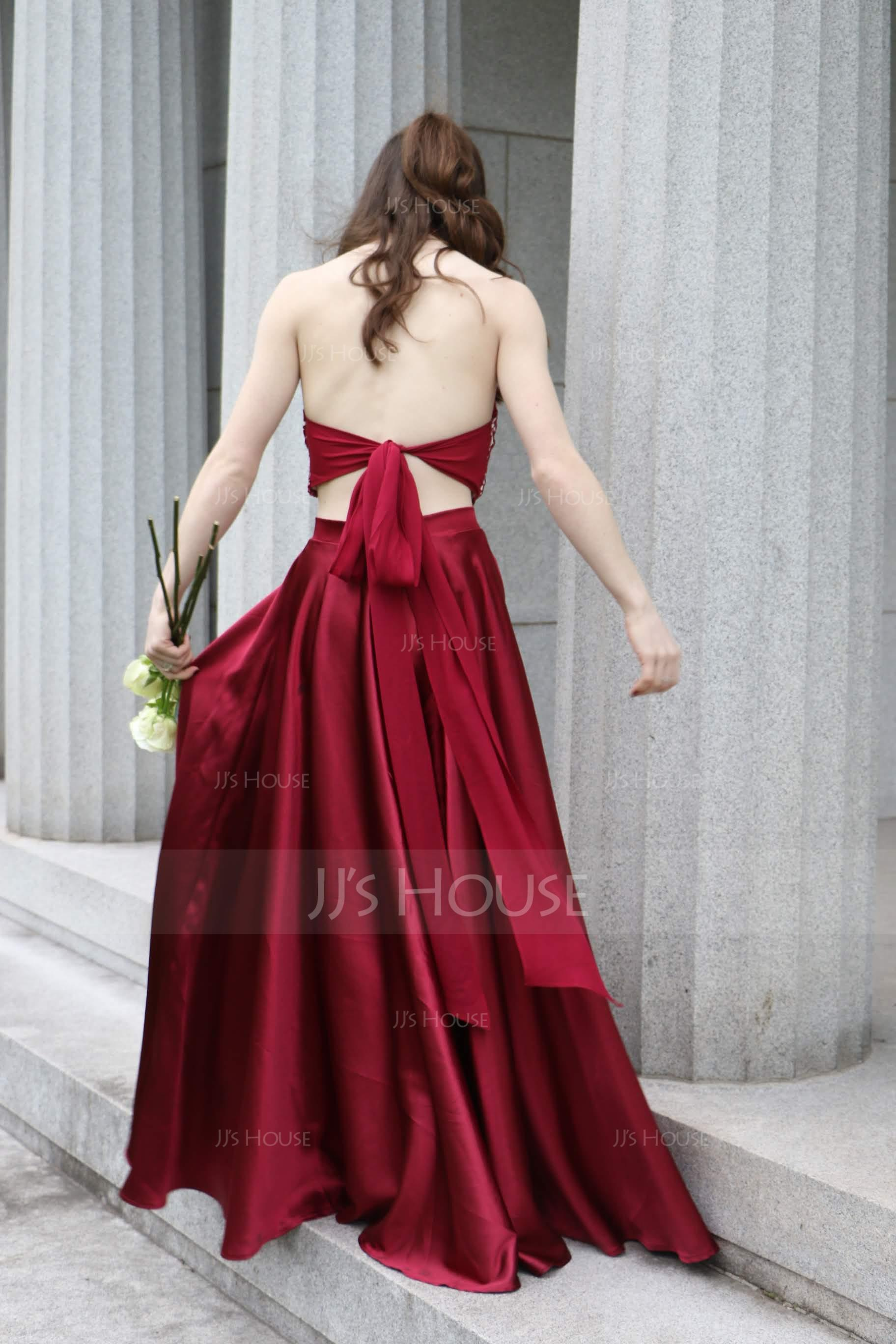 A-Line Halter Sweep Train Satin Prom Dresses With Beading Bow(s) Split Front (018147839)