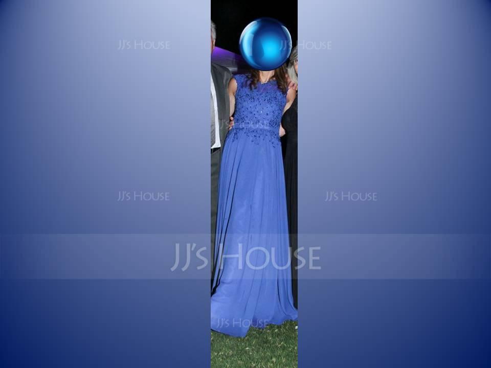 Forme Princesse Col rond Longueur ras du sol Mousseline Robe de soirée avec Brodé Motifs appliqués Dentelle Paillettes (017064185)